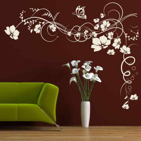 Large Butterfly and Flower Vine Sticker