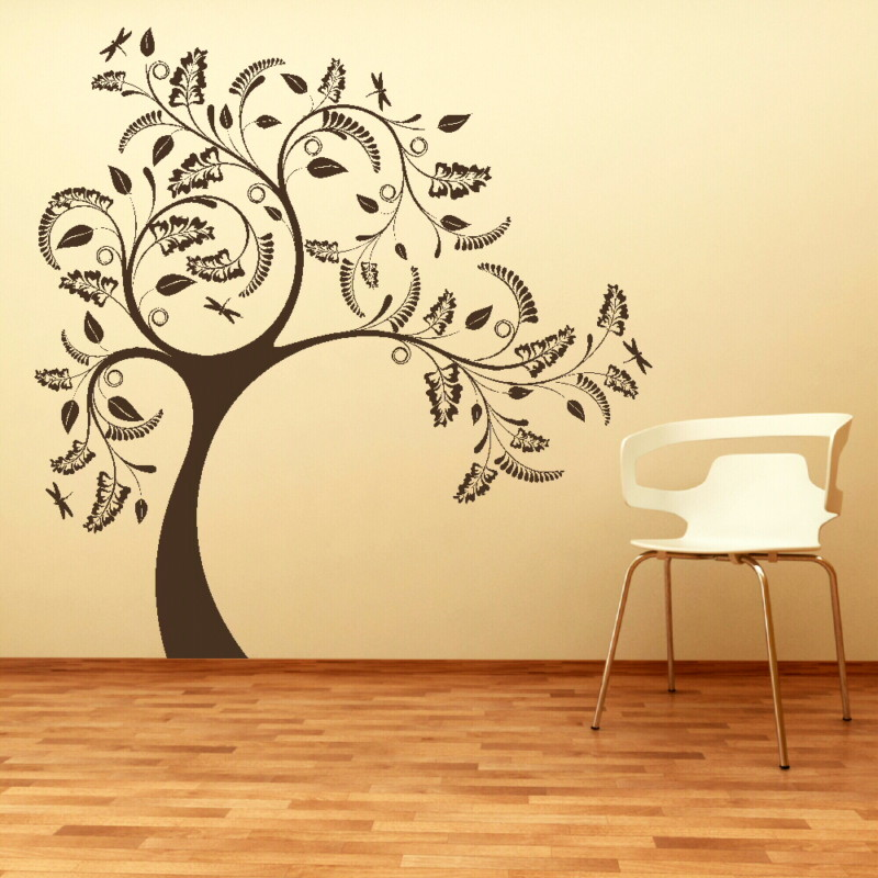 Large tree with floral design wall sticker for Large tree template for wall