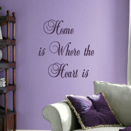 home is where the heart is wall stickers quote. Black Bedroom Furniture Sets. Home Design Ideas