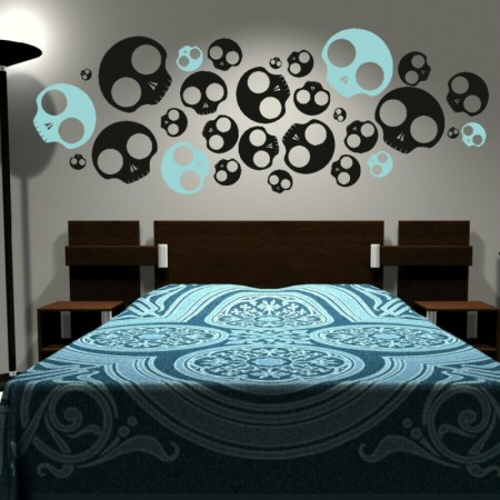 group of emo skulls wall decal