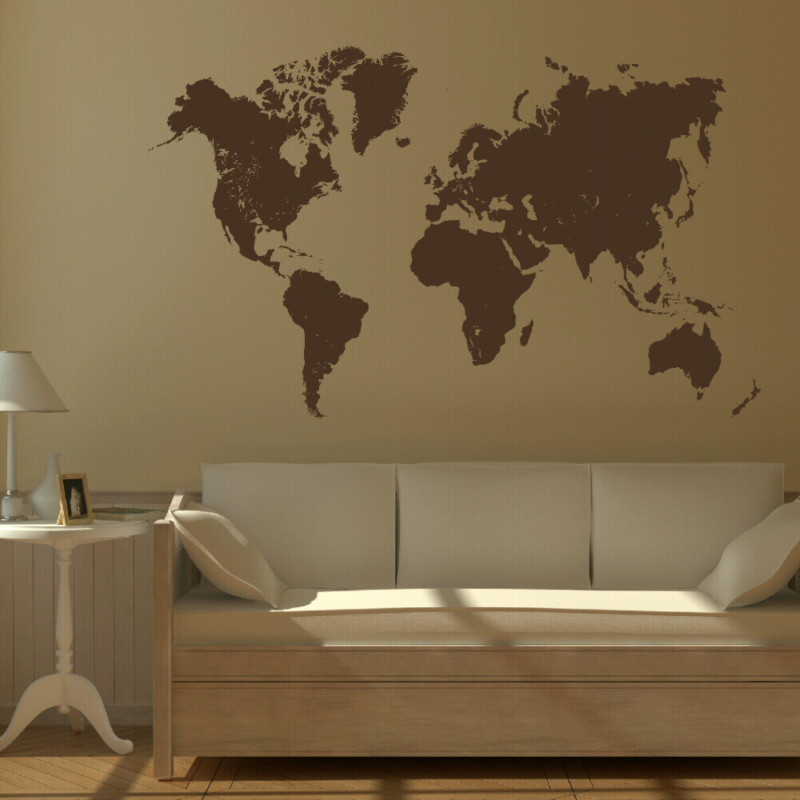 Large world map wall sticker bn12 gumiabroncs Choice Image